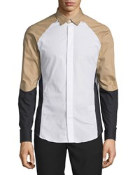 Opening Ceremony Ergo Colorblock Woven Dress Shirt White