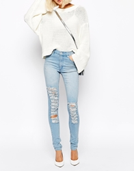 Cheap Monday Second Skin Skinny Jeans With Distressing Blue