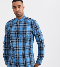 French Connection Cotton Check Shirt Blue