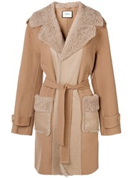 Max And Moi Panel Shearling Coat Neutrals