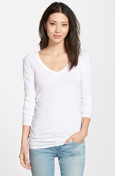 Women's Lamade Long V Neck Cotton Tee White