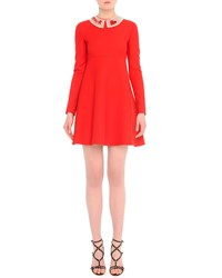 Valentino Long Sleeve Lace Collar Babydoll Dress Red