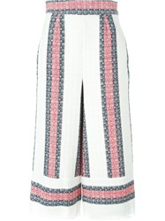 Sea Striped Cropped Trousers White