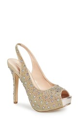 Women's Lauren Lorraine 'Candy' Embellished Slingback Peep Toe Pump Gold Multi Fabric
