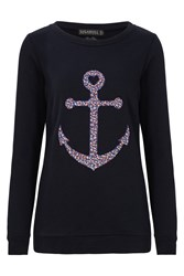 Sugarhill Boutique Floral Anchor Sweater Navy