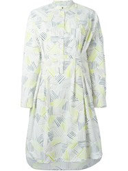 Paul By Paul Smith Band Collar Printed Shirt Dress White