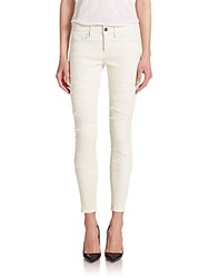 Frame Denim Le Leather Rip Pants Blanco
