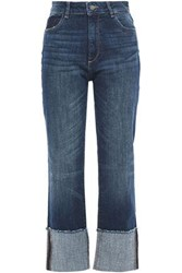 Dl1961 Woman Faded High Rise Straight Leg Jeans Mid Denim