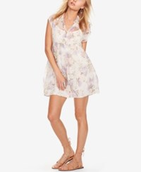 Denim And Supply Ralph Lauren Floral Print Empire Waist Shirtdress Lilacs And Roses Print
