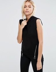 Brave Soul Knitted Vest With Front Zip Black