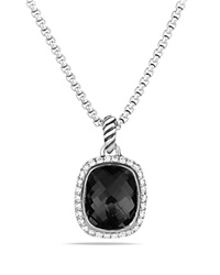 David Yurman Noblesse Pendant With Black Onyx And Diamonds On Chain Silver
