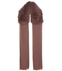 Valentino Cashmere And Fur Scarf Brown