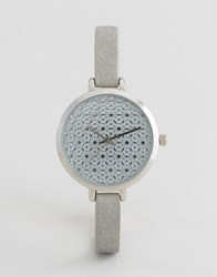 Asos Pretty Etched Dial Detail Watch Grey