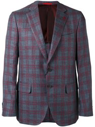 Isaia Checked Two Button Blazer Men Silk Linen Flax Wool 54 Grey