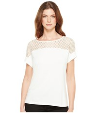 Calvin Klein Short Sleeve Top With Lace Yoke Soft White Women's Short Sleeve Knit