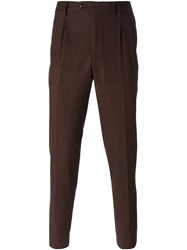 Massimo Piombo Houndstooth Tailored Trousers Brown