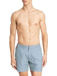 Saks Fifth Avenue Printed Swim Trunks Navy Lime
