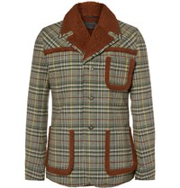 Prada Faux Shearling Panelled Checked Wool Jacket Green