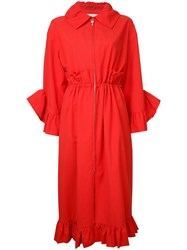Goen.J Ruffle Trim Coat Red