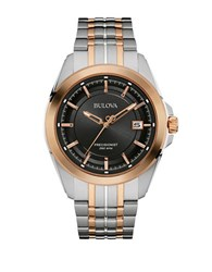 Bulova Precisionist Two Tone Watch 98B268 Rose Gold