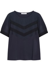 See By Chloe Broderie Anglaise And Cotton Jersey Top Midnight Blue