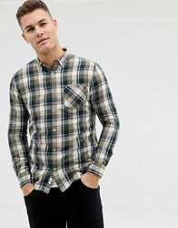 Burton Menswear Shirt In Khaki Check Green