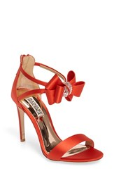 Badgley Mischka Women's Beauty Bow Ankle Strap Sandal Coral Red Satin
