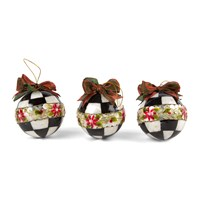 Mackenzie Childs Poinsettia Small Ball Tree Decorations Set Of 3