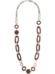 Max Mara 'S Chain Necklace Plastic Brown