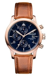 Ingersoll Watches Men's Hatton Chronograph Leather Strap Watch 46Mm Brown Blue Rose Gold