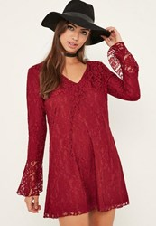 Missguided Red Lace Flue Swing Dress