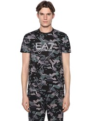 Emporio Armani Camouflage Printed Cotton T Shirt