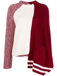 Mrz Asymmetric Ribbed Knit Sweater Red