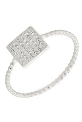 Bony Levy 18K White Gold Pave Diamond Stacking Beaded Band Ring Size 6.5 0.13 Ctw