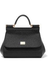 Dolce And Gabbana Sicily Micro Textured Leather Tote Black