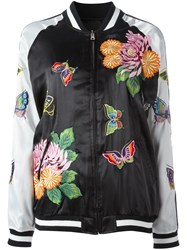 P.A.R.O.S.H. Floral Decal Bomber Jacket Black