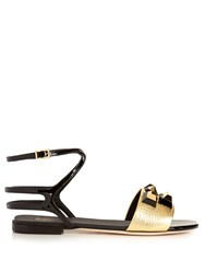 Fendi Embellished Leather Sandals Black Gold