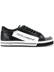 Dolce And Gabbana Panelled Lace Up Sneakers Cotton Leather Rubber Black