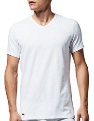 Lacoste Two Pack Slim Fit V Neck Tee White