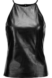 Raoul Leather And Stretch Ponte Tank Black