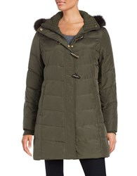 Ellen Tracy Fox Fur Trimmed Puffer Coat Olive