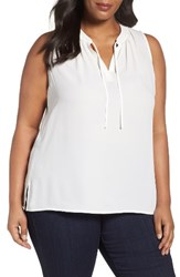 Sejour Plus Size Women's Tie Neck Shell Ivory Cloud