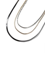 Topman Mixed Metal Multi Row Chain Necklace
