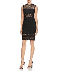 Aqua Open Weave Patterned Dress Black