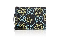 Men's Guccighost Print Crossbody Messenger Bag Black