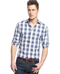 Vince Camuto Slim Fit Checkered Shirt Navy White Satin Dobby Plaid