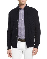Ermenegildo Zegna High Performance Textured Cardigan Navy