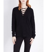 The Kooples Lace Up Wool And Cashmere Blend Jumper Black