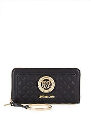 Love Moschino Quilted Nappa Zip Wallet Black