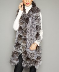 The Fur Vault Fox Trim Knitted Chinchilla Scarf Natural